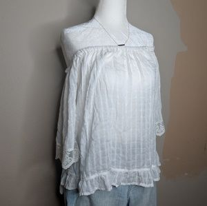 UO CAUTION TO THE WIND White Off the Shoulder Top